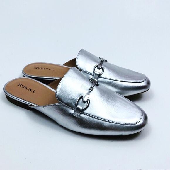 dfd618e0f00 Merona Kona Backless Mule Loafers Silver Metallic.  M 5b2cbb61409c1563bb9d3e97